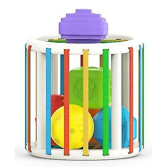 Bimirth Rainbow Matching Rubik's Cube Building Blocks Color Cognitive Jigsaw Puzzles Juguetes para niños pequeños