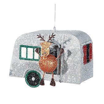 Vintage Look Glittery Holiday RV with Rudolph Christmas Ornament