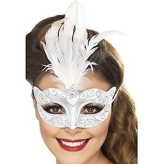Maska oko weneckie brokat srebrny z piór