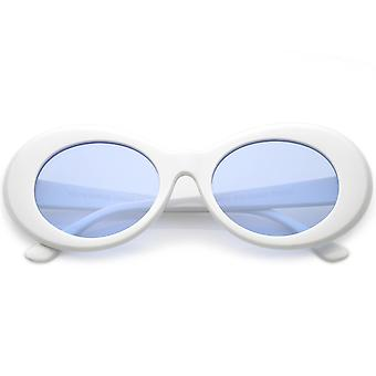 Retro Oval Sunglasses With Tapered Arms Colored Lens 50mm