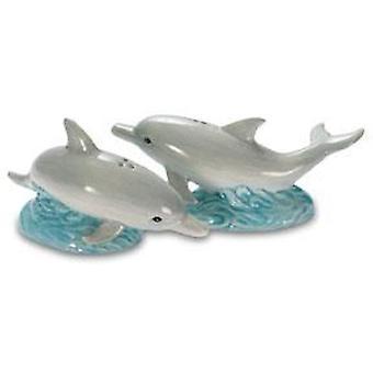 Nautische paar schwimmen Delfine Salz und Pfeffer Shaker Set