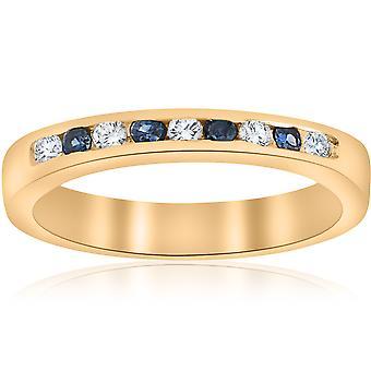 1/3 карата алмазов & синий сапфир годовщины обручальное кольцо 14k желтое золото