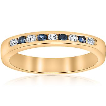 1 / 3ct diamant & bleu saphir anniversaire Wedding Ring 14k or jaune
