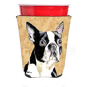 Carolines trésors SC9140RSC Boston Terrier rouge coupe Solo boissons isolant Hu