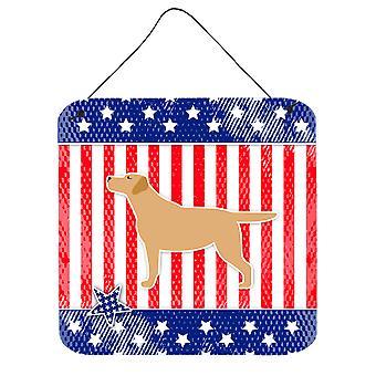 EUA patriótica Retriever de Labrador amarelo de parede ou porta pendurada imprime