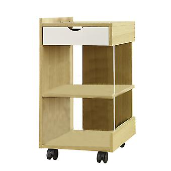 Sauder Studio Edge 3 Shelf Rolling Cabinet Wooden Utility Cart