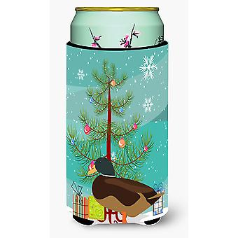 Silver Bantam Duck Christmas Tall Boy Beverage Insulator Hugger