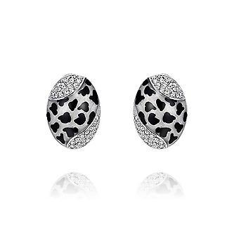 Abalone Ohrringe mit weißen Swarovski-Kristallen und Rhodium Platte geschmückt