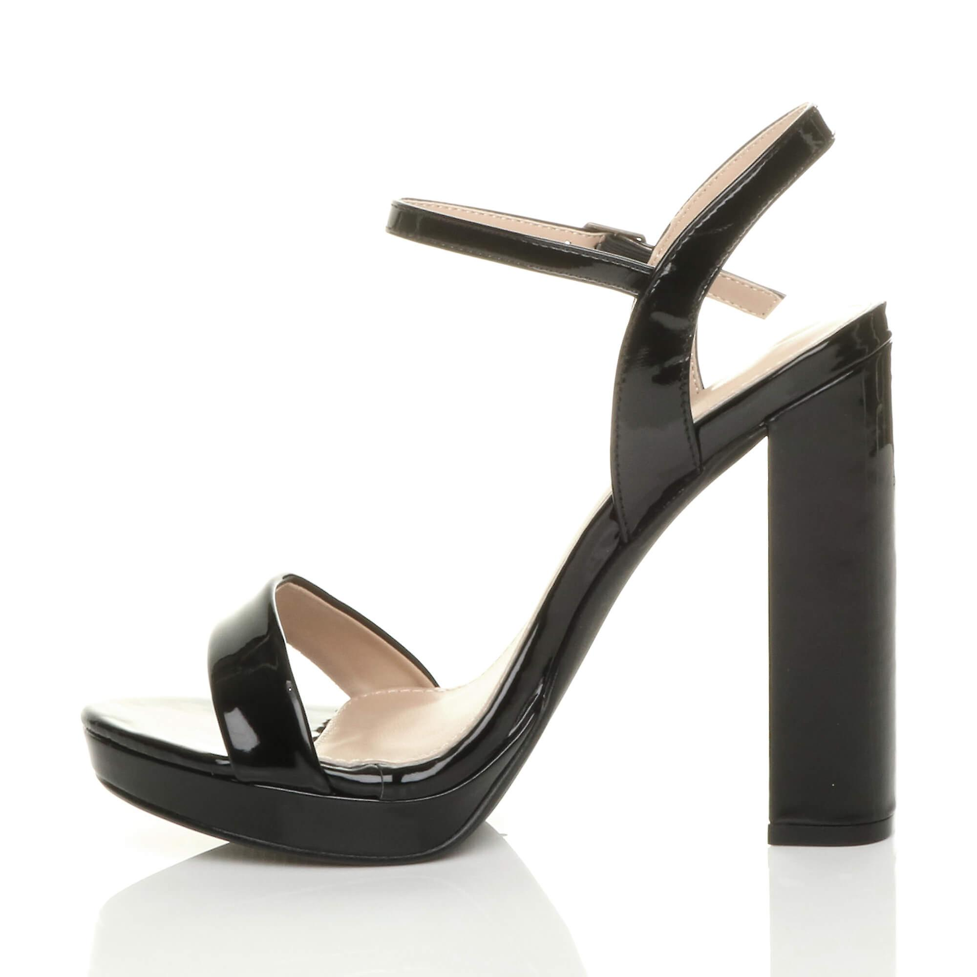 Ajvani womens high block heel ankle strap platform barely there sandals size