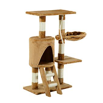 PawHut Cat Activity Centre Sisal Kitten Tree Scratch Scratcher Scratching Post Toy Climbing Tree Bed House Multi Level Brown