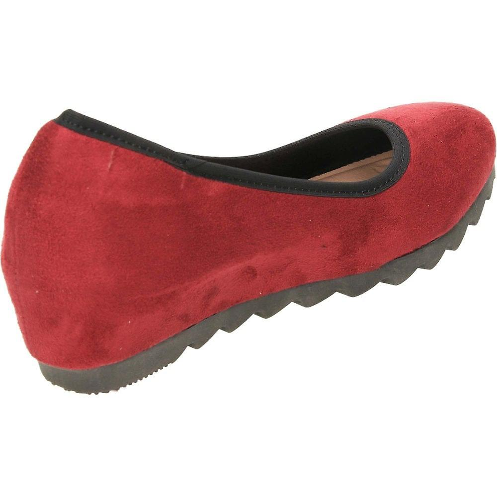 Comfort Plus Burgundy Wide Fit Concealed Wedge Faux Suede Shoes