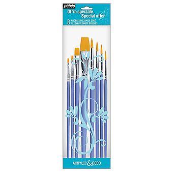 Pebeo Acrylic & Deco Set of 8 Round & Flat Brushes