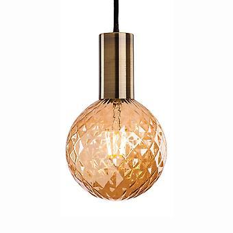 装飾的なアンバー ガラス LED ランプ 1 付属 Firstlight ハドソン 1 アンティーク真鍮ペンダント