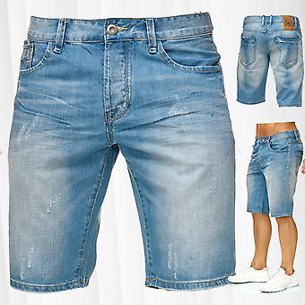 Mens Bermuda Jeans Shorts Stretch Denim Capri Vintage Light Seams Summer Pants