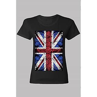 Union Jack käyttää hyvät Rose Design Union Jack T paita musta