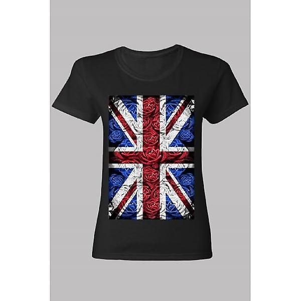Union Jack Wear Ladies Rose Design Union Jack T Shirt Black