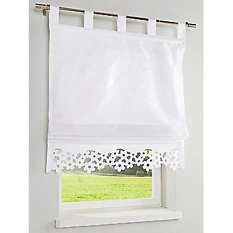Heine home half-transparent tier Burnout floral edge H/B 0.45/120 cm