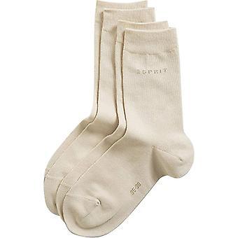 Esprit основных изобразительных вязать носки 2 Pack середины икры - крем
