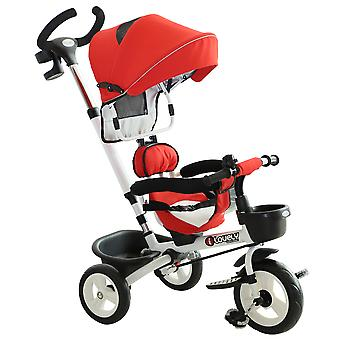 HOMCOM 4-in-1 Baby Tricycle Stroller Kids Folding Trike Detachable Canopy Pushing Handle Learning Bike Ride On Red