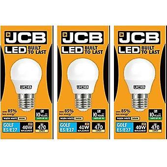 3 X JCB 6w LED Golf Ball ampoules Edison à vis E27, 40w ampoule incandescente équivalente, 470lm, blanc chaud 3000k, Non Dimmable, LED Edison vis Golf Ball ampoules, 220-240v [classe énergétique A +]