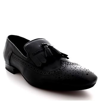 Mens H By Hudson Bodey Black Leather Smart Work Office Brogue Flat Shoes