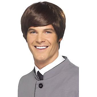 ショート ストレートの茶色のかつら、60 年代モッズの男性かつら 1960 年代デザインの凝った服アクセサリー