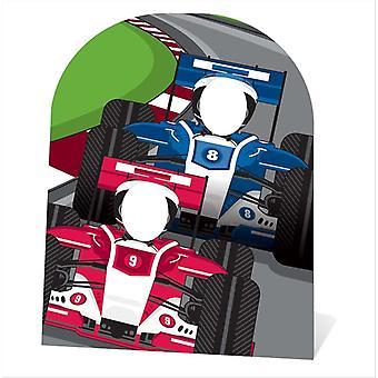 Racing autot seisovat lapsi koko pahvi automaattikatkaisin / seisoja
