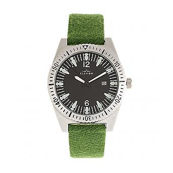 Elevon Jeppesen Pressed Wool Leather-Band Watch w/Date - Green