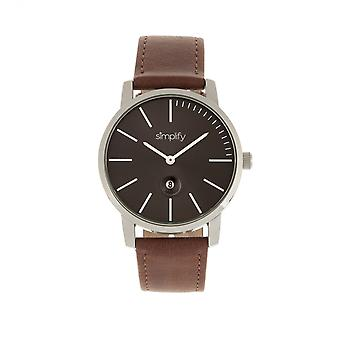 Simplify The 4700 Leather-Band Watch w/Date - Silver/Brown
