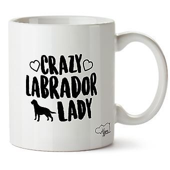Hippowarehouse Crazy Labrador Dame Hund gedruckt Mug Tasse Keramik 10oz