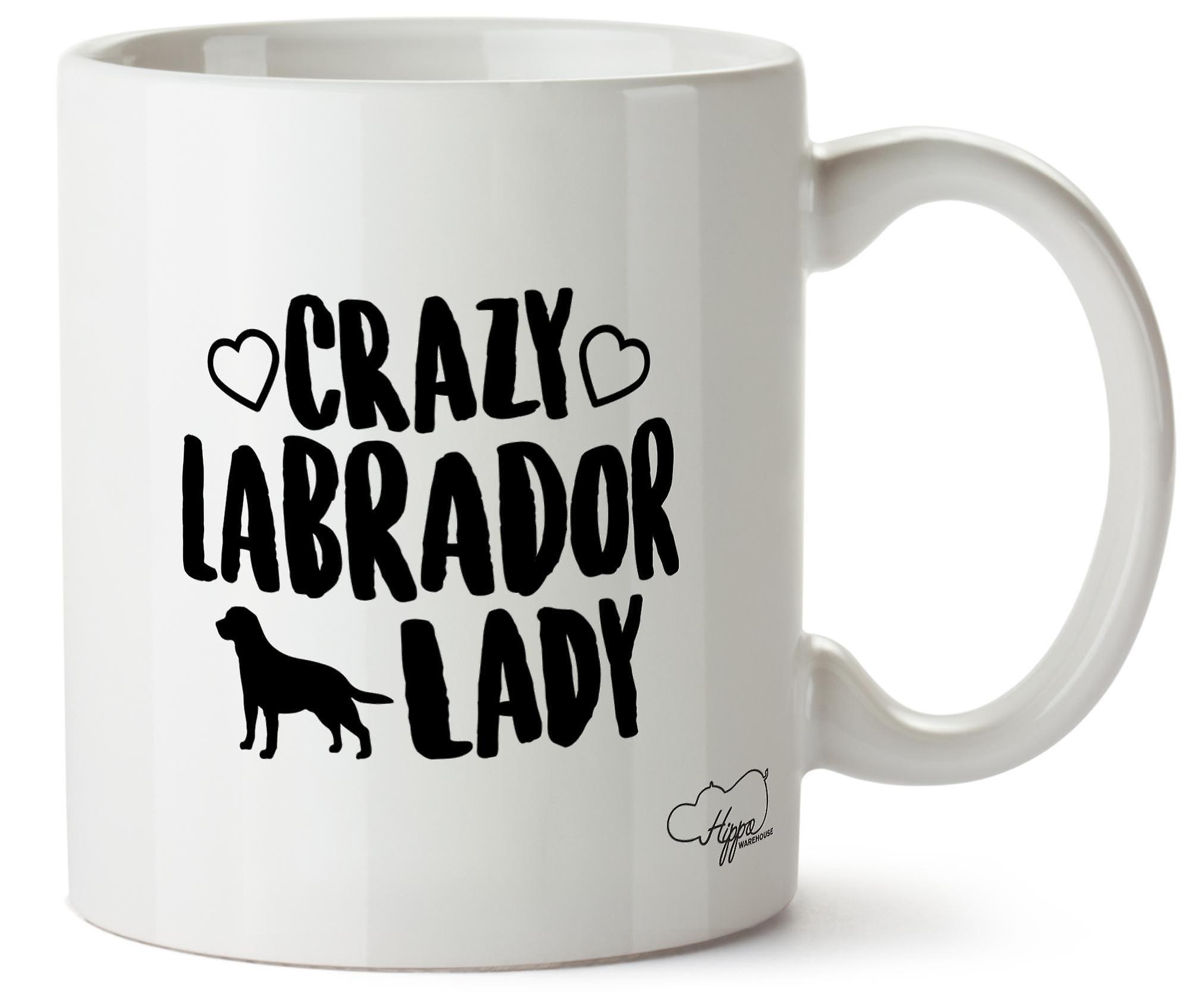 Hippowarehouse Crazy Лабрадор леди собака напечатаны Кубка керамическая кружка 10oz