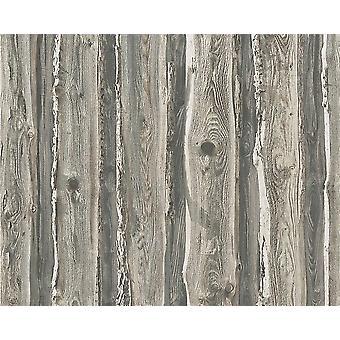 Hout behang houten Effect graan paneel noodlijdende realistisch grijs Beige