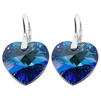 Ah! Sieraden Bermuda blauw hart kristallen van Swarovski oorbellen, Sterling Zilver