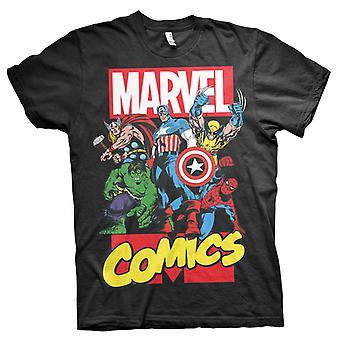 Marvel Comic Heroes noir T-Shirt homme