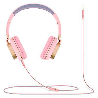 Micro dobrável fones de ouvido de áudio com 3,5 mm Jack GJ18 em-linha de controle remoto-rosa/ouro