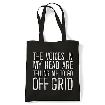Voices In My Head Go Off Grid, Tote - Reusable Shopping Canvas Bag Gift
