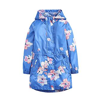 Joules Junior Golightly Long Line Rain Jacket - Mid Blue Floral