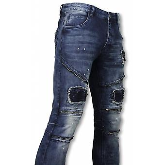 Biker Jeans - Slim Fit Zipped Biker Jeans With Paint Drops - Blue