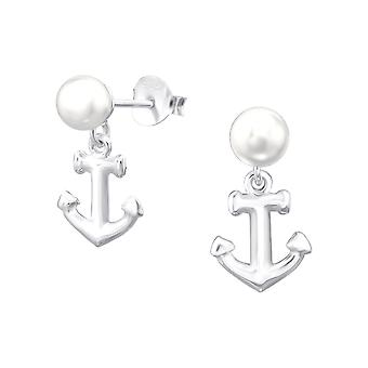 Anchor - 925 Sterling Silver Pearl Ear Studs - W38397X
