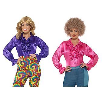 Damen Satin Ruffle Shirt Rüschenhemd Hippie Karneval