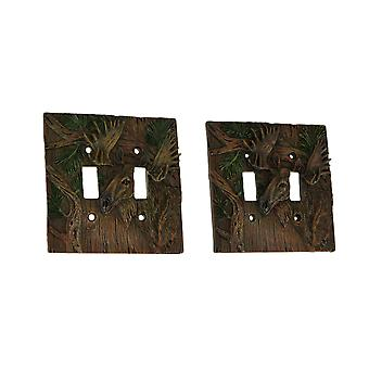Rustic Woodland Moose 2 Toggle Wall Plate Light Switch Cover Set of 2