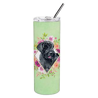 Giant Schnauzer Green Flowers Double Walled Stainless Steel 20 oz Skinny Tumbler
