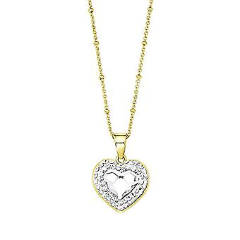 Noelani Women's Necklace with Swarovski Elements White Crystal Pendant - Brass Heart In Part Gold Plated 45 cm ? 548151