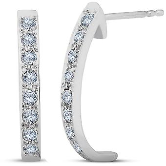 3 / 8ct diamants cerceaux 14K or blanc