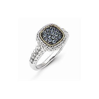 925 Sterling Argent Avec 14k et Noir Rhodium Blue Topaz Ring Bijoux Cadeaux pour les femmes - Taille de l'anneau: 7 à 8