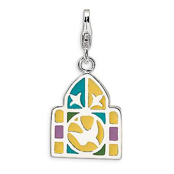 925 Sterling Silver Polished Fancy Lobster Closure 3 D Enameled Stain Glass Window With Lobster Clasp Charm Pendant Neck