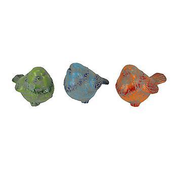 Rustic Blue Orange and Green Ceramic Bird Figurines Set of 3