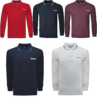 Lambretta Mens Casual Long Sleeve Tipped Pique Polo Shirt Top