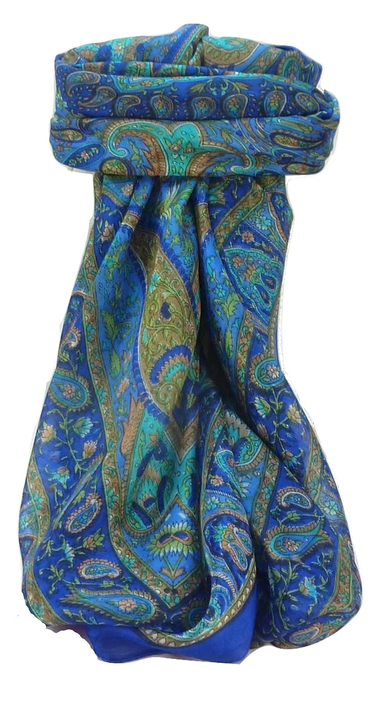 Mulberry Silk Traditional Square Scarf Zoi Blue by Pashmina & Silk