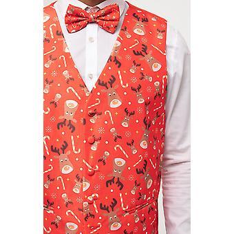 Dobell Mens Rudolph Red Christmas Waistcoat Regular Fit